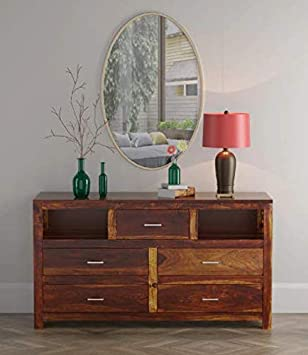Shilpi Hand Carved Sheesham Wood Chest of Drawer in Natural Brown Finishing for Living Room