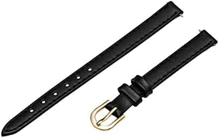 Timex Women's Q7B859GZ Padded Calfskin Stitched 9mm Black Replacement Watchband