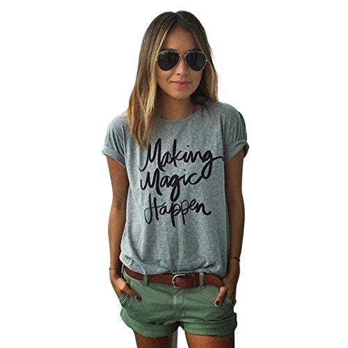 Yantu Damen girl Rundhals Top Sunmmer weich T-Shirt Oversize Funny Crew Neck Print Sweatshirt (M)