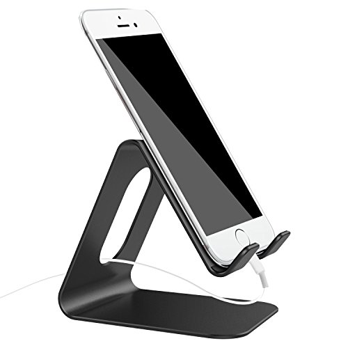 """Esonstyle Universal Solid Aluminum Desktop Stand Mount Holder Cradle Tablet PC Stand For iPhone 6 Plus 6S 5 4, ipad 2 3 4 mini, Samsung Galaxy S6 Edge S5 Note 5 4, For HTC And Most 7"""" tablet (black)"""