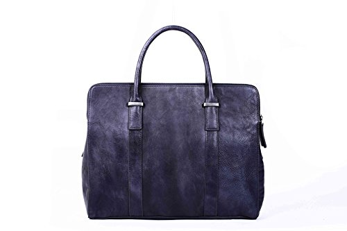 ROCKCOW Men's Full Grain Leather Briefcase Messenger Bag Attache Case 14 Inch ()