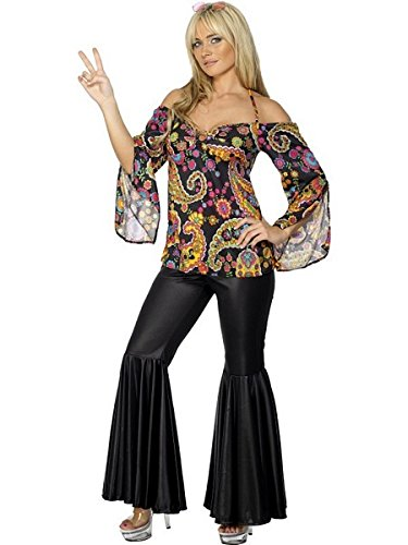 Smiffys Women's Hippie Costume Female with Patterned Top and Flared Trousers, Multi, Medium -
