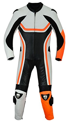 (Sleekhides Men's Fashion Motorcycle Real Leather Racing Suit Cow Black)