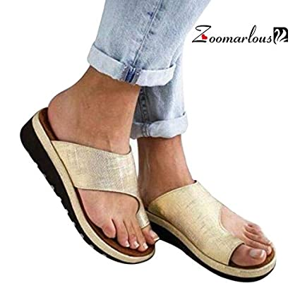 Zoomarlous 2019 New Women Comfy Platform Sandal Shoes Summer Beach Travel Shoes Fashion Sandals Comfortable Ladies Shoes(Gold,36)
