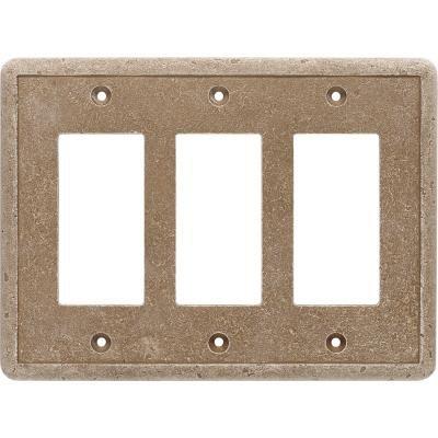 Cast Stone Switchplate - Questech Dorset Noche Triple GFCI Switch Plate Stone Composite
