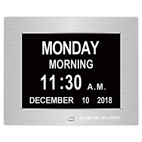 Clear Clock [Newest Version Extra Large Digital Memory Loss Calendar Day Clock with Optional Day Cycle + Alarm Perfect for Seniors + Impaired Vision Dementia Clock (Silver Metal)