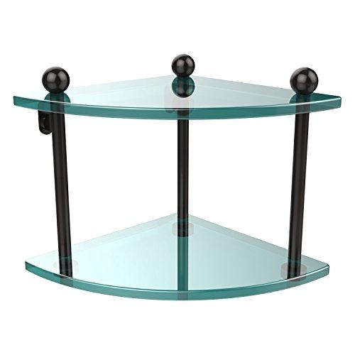 Allied Brass PR-3-ORB Two Tier Corner Glass Shelf Oil Rubbed Bronze