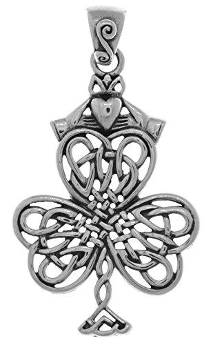 Jewelry Trends Sterling Silver Celtic Knot Shamrock Clover Irish Claddagh Pendant