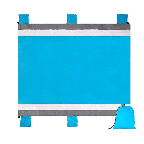Alomidds Beach Blanket Sand Mat Camp Blanket Large Compact 6 Adults, Portable, Quick Drying Blanket, Corner Pockets, Loops, Polyester, Best for Park Hiking Outdoor Activities (Blue, 78''x86'') ()