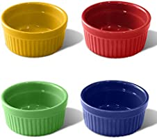 Ramekins Set of 4 Colorful Ceramic Dessert Cups 150ml 8.7×8.7×4cm Mini Bakeware for Souffle Cupcake Ice Cream Pudding...