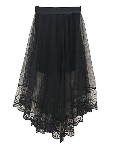 SaiDeng Mujer Elástico Cintura Alta Dobladillo Grande Irregular Encaje Falda Negro Negro