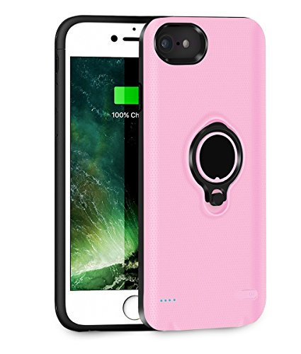 QueenAcc 2500mAh Battery Charging Case Compatible iPhone 6/6s/7 Portable Battery Charging Case Slim Extended Battery Pack Kickstand Support Magnetic Car Mount Holder. (Pink)