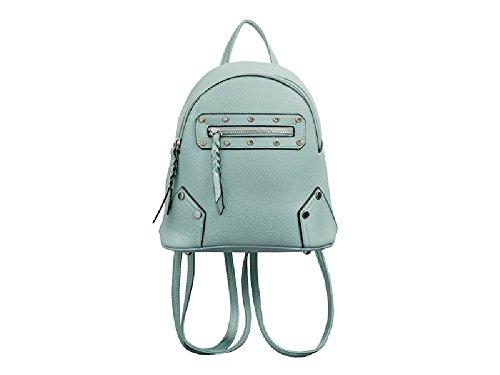 Girls Faux Leather Studded Zip Rucksack Bag - Womens & Ladies School Ladies Backpack Handbag KT2191 Mint