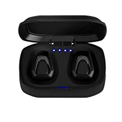 Feature: TURE WIRELESS STEREO: Portable Stereo Sport Headphones, Sports Headsets Lightweight Earbuds With Mic for iPhone Samsung HTC LG and other Bluetooth devices. STATE OF THE ART EARPHONES DESIGN: Best workout Bluetooth headphones. Great f...