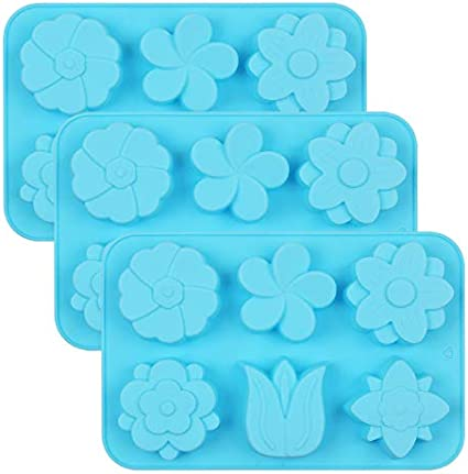 Ice Cube Set of 3PCS Non Stick Silicone Mixed Sunflowers Daisy Mold for Candy Chocolate Jelly homEdge 6-Cavity Silicone Flowers Shaped Mold 3 Styles Flowers