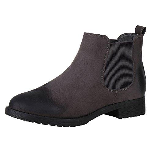 napoli-fashion Women's Chelsea Boots Grau Grigio