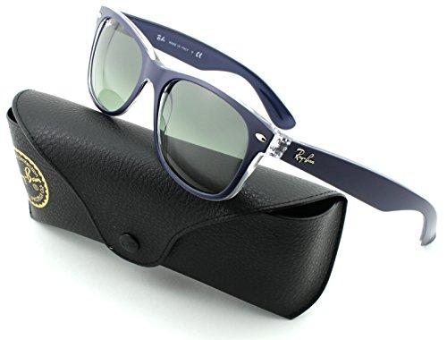 Ray-Ban RB2132 New Wayfarer Unisex Sunglasses (Matte Blue on Transparent Frame/Grey Gradient Lens 605371, 55)