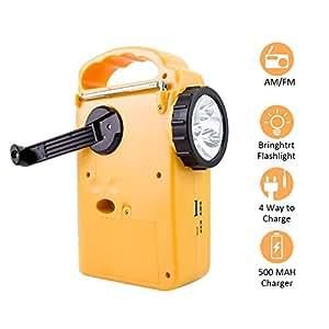 Radio solar con dinamo de manivela AM/FM/WB, equipada con linterna de led y cargador para móvil, amarillo