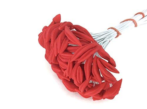 Red Stamen Pollen Long Head Lilly Flower Craft Artificial Scrapbook Floral Round Wire Wedding Card Making