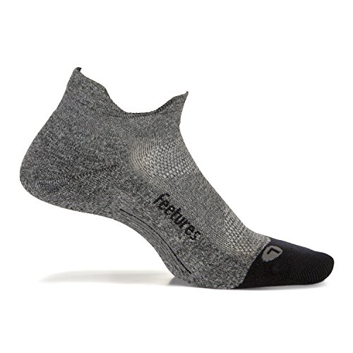 (Feetures - Elite Light Cushion - No Show Tab - Athletic Running Socks for Men and Women - Gray - Size Large)