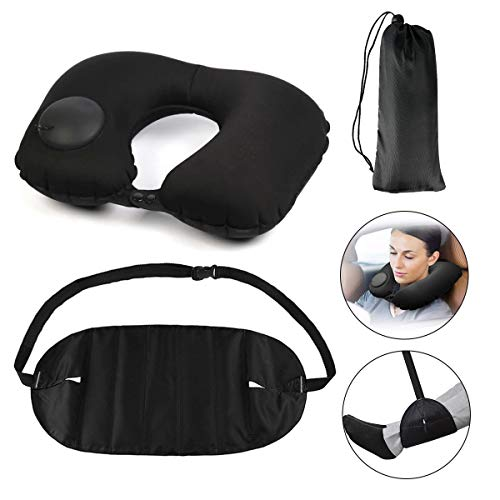 Inflatable Travel Pillow Black U-Shaped Inflatable Pillow Footrest Hammock Set for Sleeping on Airplane, Car, Train…