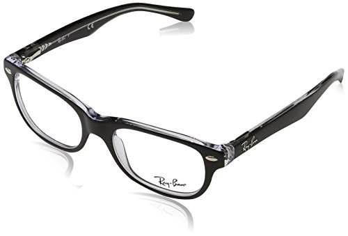 Ray-Ban RY 1555 3529 Black On Transparent Plastic Rectangle Eyeglasses - Pictures Ban Ray