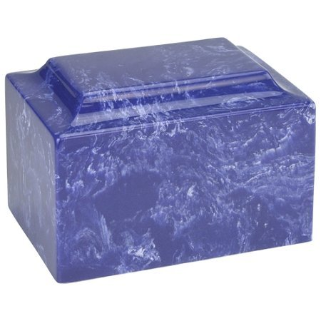 Memorials4u Cobalt Classic Cultured Marble Funeral Cremation Urn for Human Ashes - Adult/Large Size, Marble Urn, Adult Affordable Urn for Human Ashes suitable for Ground burial or Home memorial