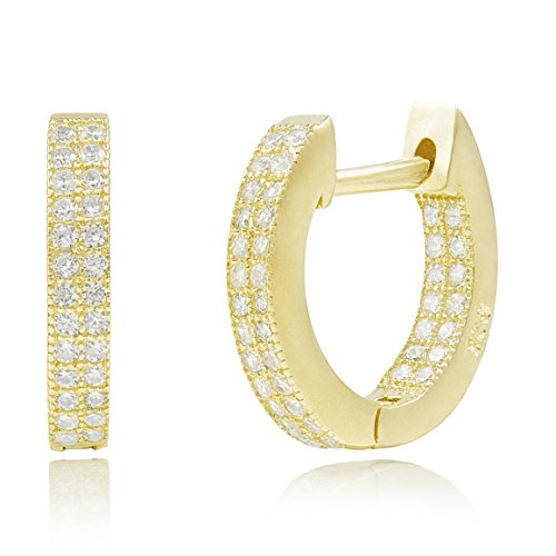 - 14k Yellow Gold Plated 925 Sterling Silver In-and-Out Cubic Zirconia Huggie Hoop Cartilage Earrings