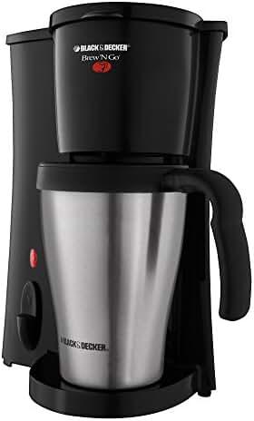 BLACK+DECKER DCM18S Brew 'n Go Personal Coffeemaker with Travel Mug, Black/Stainless Steel