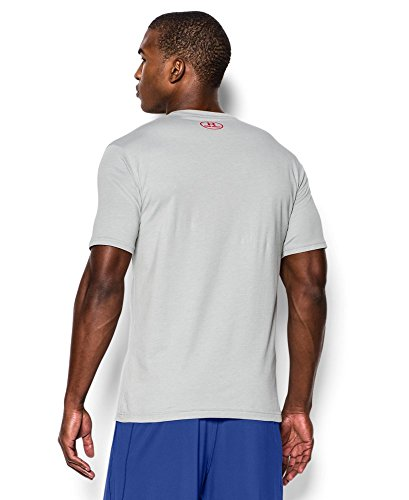 Under Armour Men's Charged Cotton Left Chest Lockup T-Shirt, True Gray Heather /Red, XXX-Large by Under Armour (Image #1)