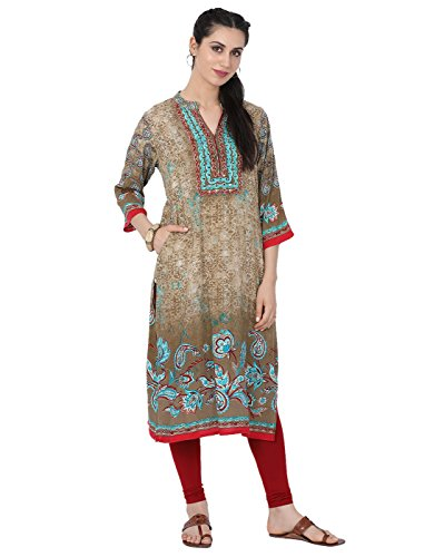 Lagi Designer Women's Rayon Straight Printed Kurta Indian Tunic Top Womens Printed Blouse India Clothing Large (Olive Green)