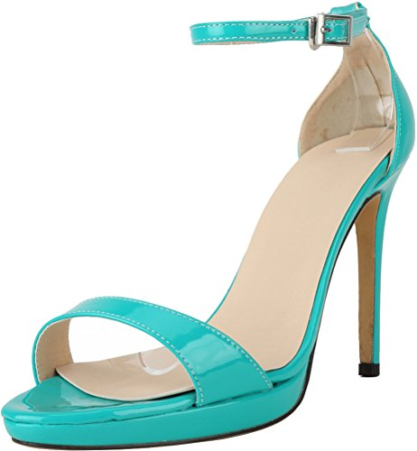 CFP YSE-806-5QP Womens Lissom Summer Daily Open Toe Fashion Leisure Breathable Relaxing High Heel Crafted Snug Perfect Stiletto Office Ankle Strap Buckle Sandals Blue 45AL0xHyJW