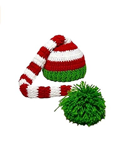 Eyourhappy Christmas Green Red Crochet ELF Long Tail Pom-pom Hat for Baby Toddlers (Elf Suit For Baby)