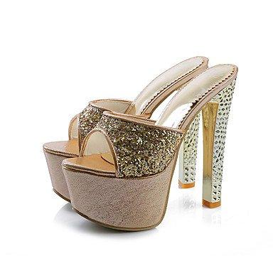 LFNLYX Zapatillas de mujer & Flip-Flops Verano Confort Slingback Purpurina boda vestido de noche y Stiletto talón Plata Oro Rosas caminando Silver