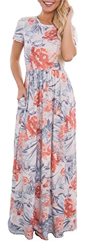 ETCYY Women's Summer Beach Boho Floral Print Short Sleeve Long Maxi Dress with Pockets