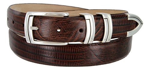 Harbor Men's Italian Genuine Calfskin Leather Designer Dress Belt In Lizard Brown, Size - Golf Belts Concho
