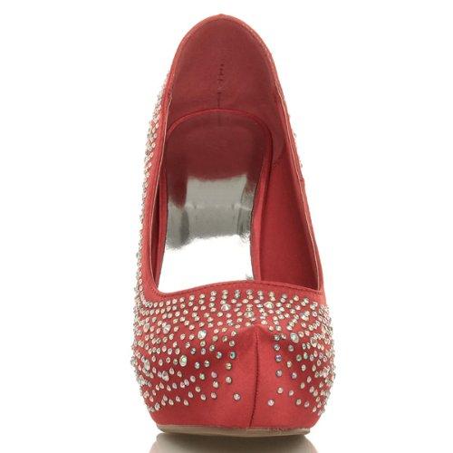 Femmes Haut Plateforme Chaussures Mariage Elegant Talon Strass rAZxprw