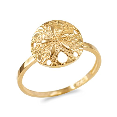 Dainty 14k Yellow Gold Sand Dollar Ladies Ring (Size 9.5) by LABLINGZ