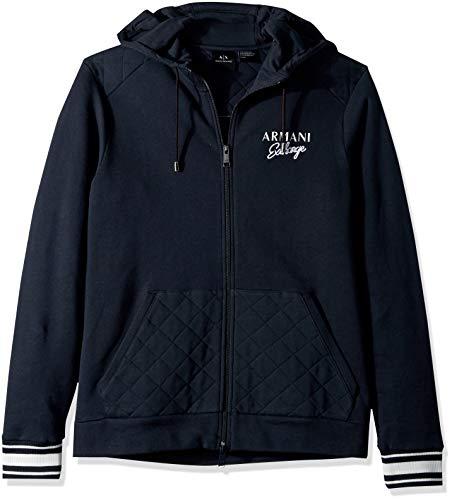 (A|X Armani Exchange Men's Script Zip-Up Hoodie Sweatshirt, Navy, XXL)