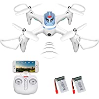 Syma X15W WIFI FPV Drone with Camera Real Time Video 2.4GHz 4CH 6-Axis Gyro APP Control RC Quadcopter with Flight Plan, Altitude Hold, 3D Flips, Headless Mode, One Key to Return LED Lights 2 Batteries