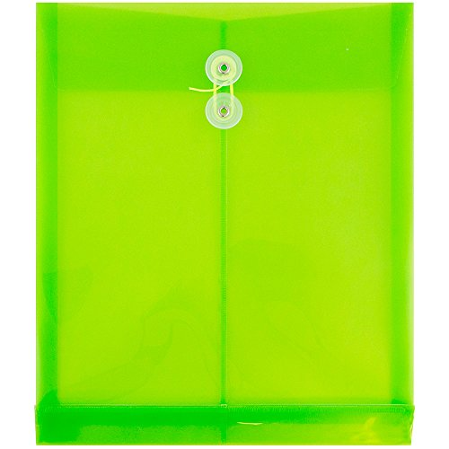 JAM PAPER Plastic Envelopes with Button & String Tie Closure - Letter Open End - 9 3/4 x 11 3/4 - Lime Green - 12/Pack