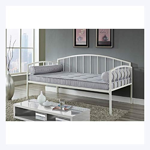 HEATAPPLY Twin Size White Metal Day Bed Frame with 600 lb Weight Limit ()