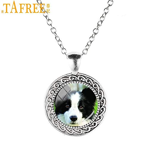 Collie PENDANT NECKLACE Chain Glass Tibet Silver Jewellery