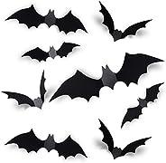 Coogam 60PCS Halloween 3D Bats Decoration 2021 Upgraded, 4 Different Sizes Realistic PVC Scary Black Bat Stick