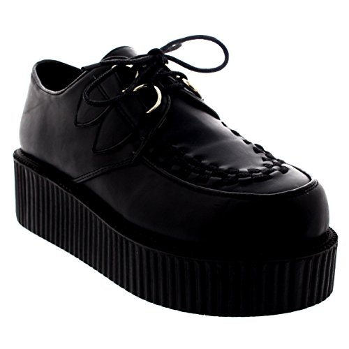 Viva Womens Double Platform Punk Goth Flatform Brothel Creepers Retro Shoes - Black Leather - 6 - SK0008K