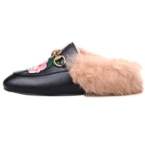 Loafers Buckle Flat Outdoor on Furry Slippers Black and Round Fashion Black with Retro Toe Womens Slip 1 ENMAYER qBAwZxHIA