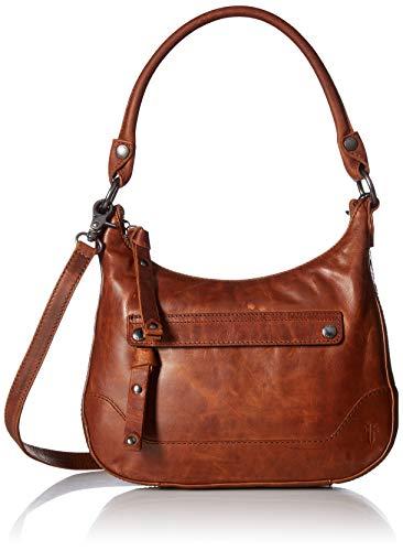 FRYE Melissa Zip Small Leather Hobo Crossbody, Cognac (Hobo Leather Zip)