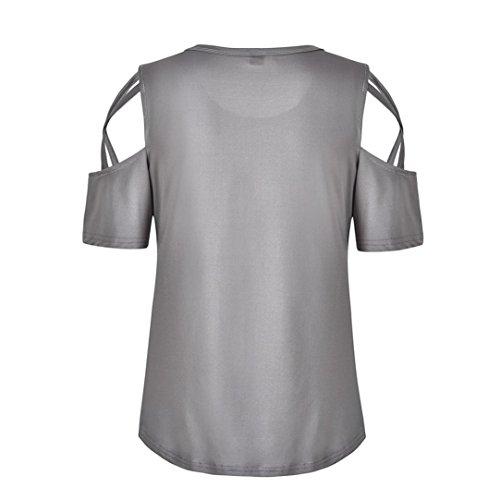 Chemise Tuniques 2XL Pure Foncé Courtes Maxi à D'Été Shirt Femme Femmes Gris Blouses LuckyGirls Froide Strappy T Couleur Tops Manches Épaule UqARw