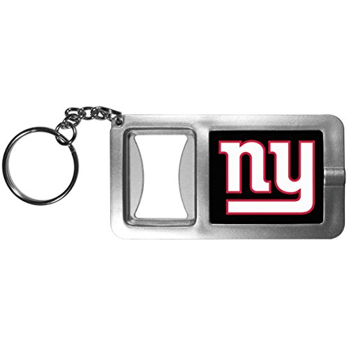 Siskiyou NFL New York Giants Split Ringer Flashlight Key Chain with Bottle Opener, Grey/Black