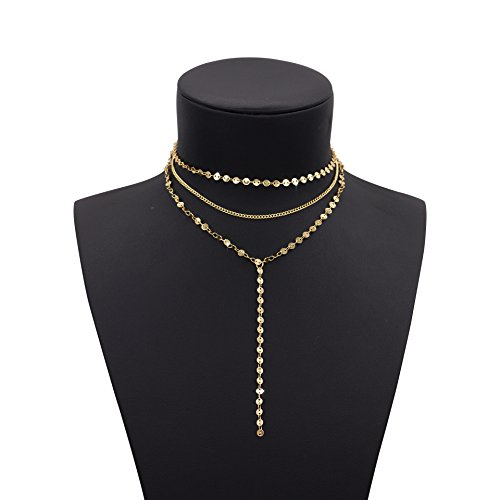 Geerier Exquisite Thin Layered Sequins Coin Choker Necklace Long Chain Pendant Necklace